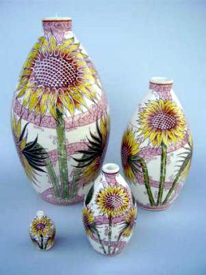 Sunflowers Hand Painted Urn