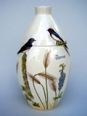 Swallows Hand Painted Urn