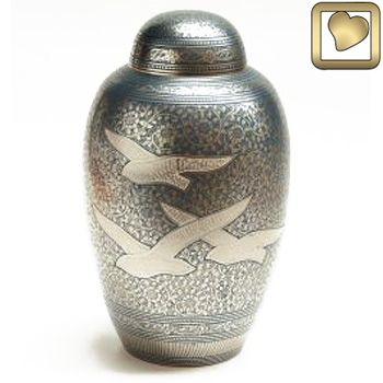 Blue Doves in Flight Urn
