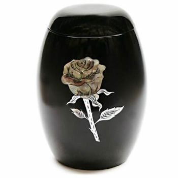 Pearl Rose Black Urn