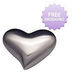 Modern Brushed Silver Heart