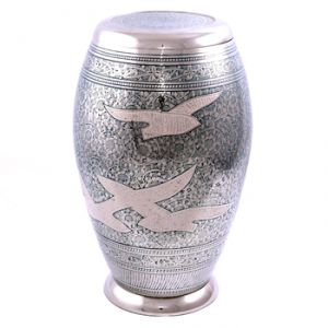 Blue Doves in Flight Flat Top Urn