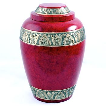 Red Alloy Band Urn
