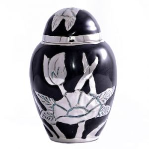 Black Flower Keepsake Urn