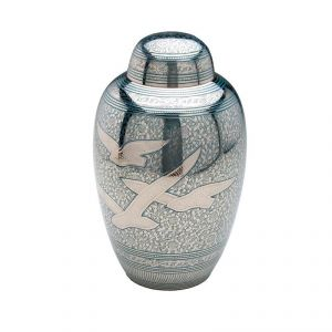 Aqua Doves in Flight Urn