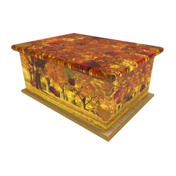 Golden Leaves Ashes Casket