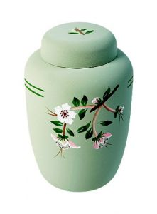 Light Green Floral Eco Urn