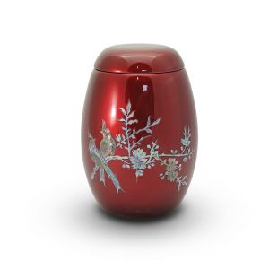 Pearl Birds Red Urn