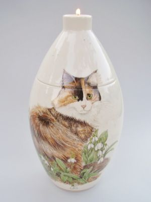 Cat & Snowdrops Hand Painted Urn