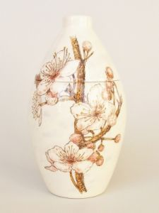 Cherry Blossom Hand Painted Urn
