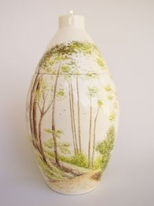 Forest Hand Painted Urn