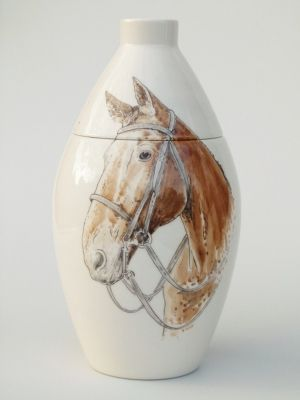 Horse Hand Painted Urn