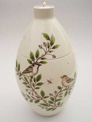House Sparrow Hand Painted Urn