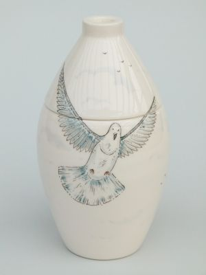 Pigeon Hand Painted Urn