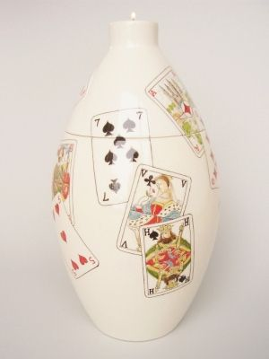 Playing Cards Hand Painted Urn