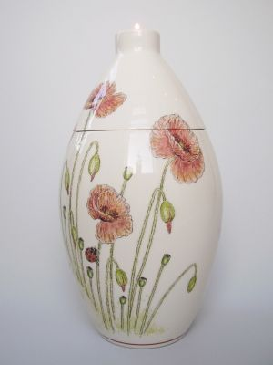 Poppies Hand Painted Urn
