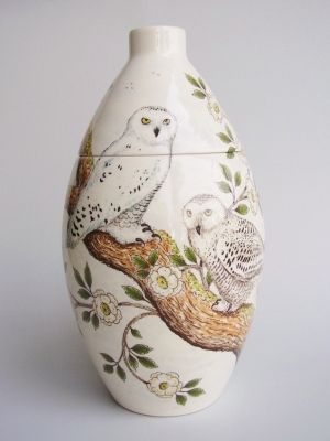 Snowy Owl Hand Painted Urn