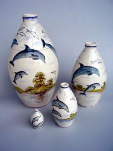 Dolphin Hand Painted Urn