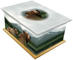 Bears & Mountains Ashes Casket