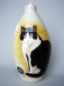 Cat Hand Painted Urn