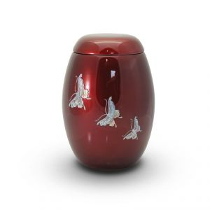Pearl Butterfly Red Urn