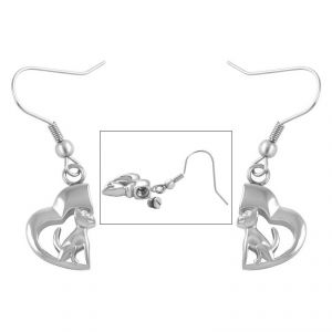 Silver Dog Earings