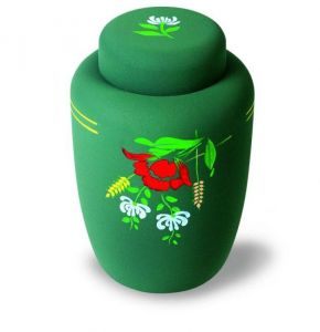 Dark Green floral Eco Urn