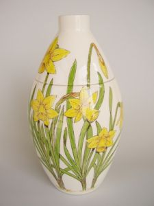 Daffodils Hand Painted Urn