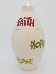 Faith, Love, Hope Hand Painted Urn