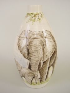 Elephant Hand Painted Urn